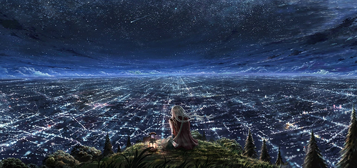 Drawn_wallpapers___Painted_girls_The_girl_looks_at_the_endless_city_096262_